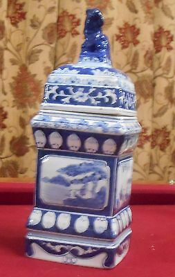 Chinese Pottery Blue and White  Foo Dog Ginger Jar Signed