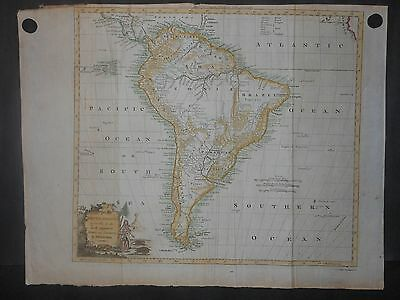 Original South America 1782 Map By Kitchen Brazil Patigonia Hand Colored