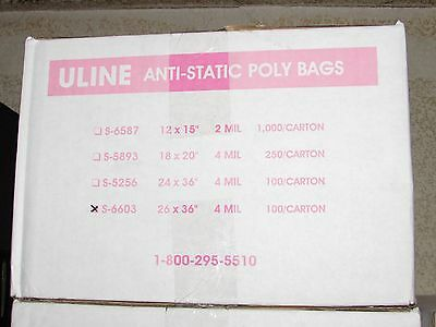 """Lot of 2 boxes Uline S-6603 Poly Anti-static bags 26 x 36"""" 4Mil 100/Box"""