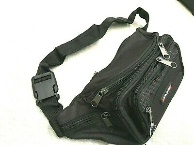 Travel Waist Pouch Bum Bag With 7 Pockets Black  NEW