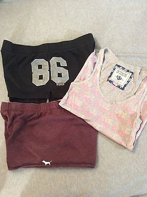 PINK Victorias Secret lot of 3 items 2 gym shorts and 1 Pink sz lg wifebeater