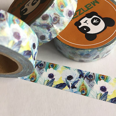 Washi Tape Peacock Feather Floral 15Mm Wide X 10Mtr Roll Plan Craft Wrap Scrap