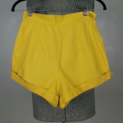 vintage 1950s yellow cotton womens pinup shorts 50s summer shorts size xs 24W