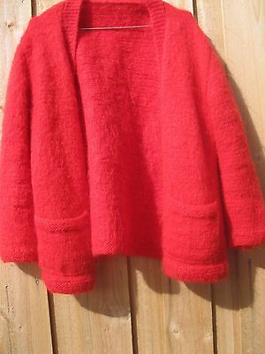 Vintage Chunky Red Mohair Cardigan