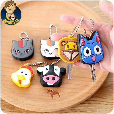 New Double Side LED PVC Cartoon rubber Key Cover case Cap Keychain Key Ring US