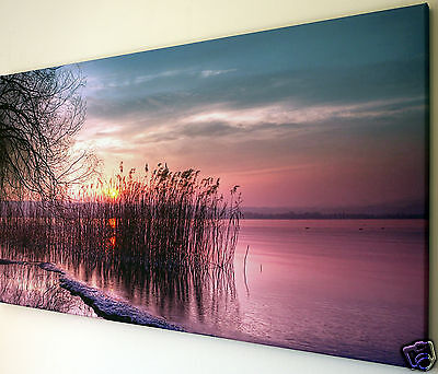 """Sunset Lake Scene Wall Art Canvas Picture  Large 18"""" X 32"""""""