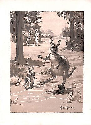 Childrens print.Kangaroo.Hop scotch.Rabbit.Duckling.Game.1930.H.Rowntree.Old