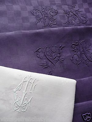 """Antique French Linen Damask Tablecloth Hand Tinted """"blackberry""""monogrammed"""
