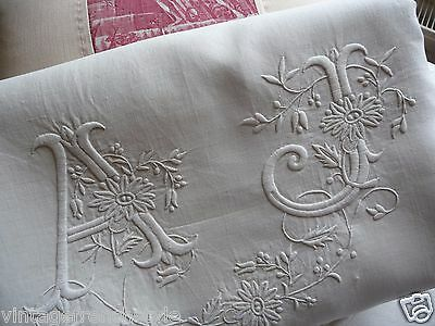 "Antique French Linen Sheet  Mono ""aj"" White Linen Sheet Pure Linen Hand Worked"