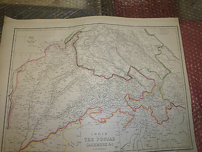 India Punjab Cashmere C 1863 Weekly Dispatch Atlas E.Weller 31x43 cmFramed20more