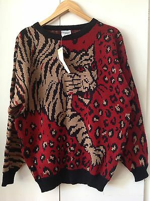 NEW VINTAGE 80's Acrylic KNIT SWEATER Pullover TIGER DESIGN Retro