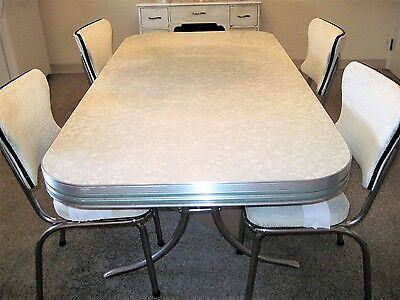 Vintage 1950u0027s Kitchen Table And Chairs ... Cracked Ice Top