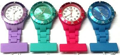 Nurses Carers Beautician Quality Fob Watch Silicone Rubber Plastic Brooch Pin