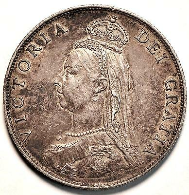 1887 Great Britain Silver Double Florin KM# 763 UNC - TX