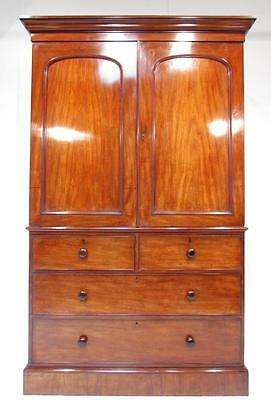 Exceptional Antique Early  19th C Flamed Mahogany Linen Press Wardrobe