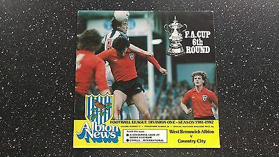 West Bromwich Albion V Coventry City 1981-82