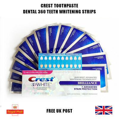 28 x PRO TEETH WHITENING STRIPS + CREST3D WHITENING TOOTHPASTE SUPER RESULTS!