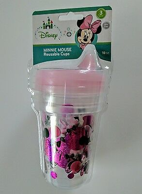 Disney Minnie Mouse 3 pk. 10 Ounce Reusable Sippy Cups BPA Free Pink Glitter