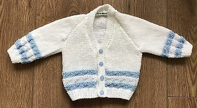 New Hand Knitted Baby Cardigan In White Colour With Blue Border - 0-3 Months