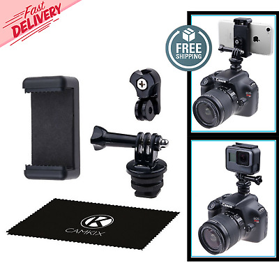 Hot Shoe Mount Adapter Kit- Attach Your Phone/GoPro Hero Flash Mount DSLR Camera