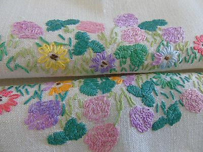 Vintage Hand Embroidered Table Cover,80cmtrs x 82cmtrs..pretty flower borders