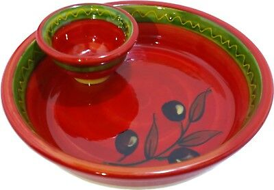 Olive Dish With Bowl For Pips 18 x 5 cm Spanish Handmade Ceramic Pottery