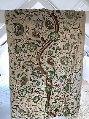 Vintage Hand Embroidered Crewel Work Tree Of Life Curtains
