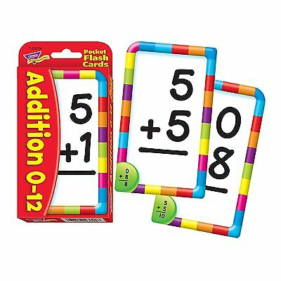 New 8x13cm Addition 56 Pocket Flash Cards Kids Children School Learning Cards