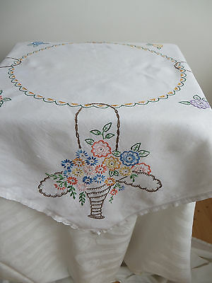 """Vintage embroidered linen tablecloth, 32""""x32"""", baskets flowers/country cottage"""
