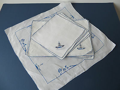Vintage embroidered table linen set, Chinese scene, 6 place mats/napkins/cloth