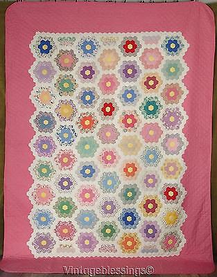 """Never Used! Glorious VINTAGE 1930s Pink Flower Garden QUILT 98x72"""""""