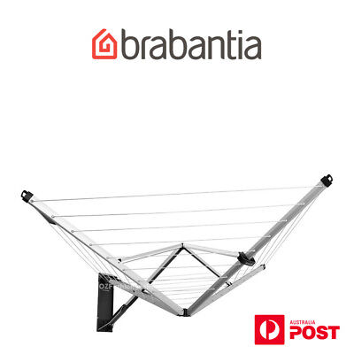 Brand New Brabantia WALLFIX ROTARY FOLDING 24M CLOTHES LINE W/ COVER WALL MOUNT