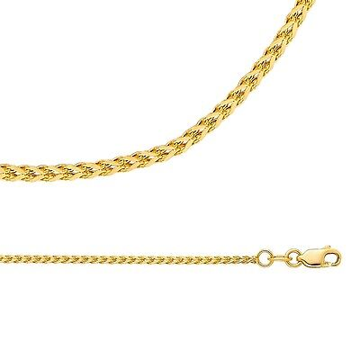 Wheat Chain Solid 14k Yellow Gold Necklace Square Franco Hollow , 1.7 mm