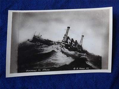 War Postcard Real Photo Vermont In Storm N Moser Ship Boat Sea