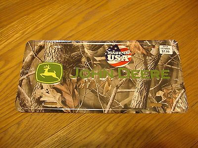John Deere Embossed Metal License Plate - Camo Yellow Green Made in USA