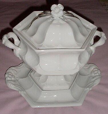 Vintage Red Cliff Ironstone Soup Tureen With Underplate