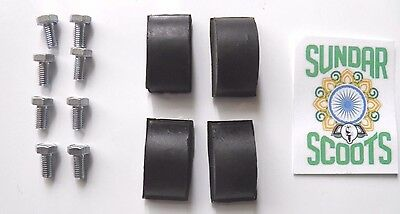 4 Black Fork Rubber Buffers And Fixings..suitable For Li Lambretta Scooters