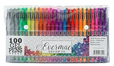Colored Gel Pens Set Coloring Art Drawing 100 Unique Colors Glitter Neon Ink