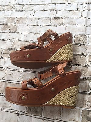 ALDO 36 6 Leather Brown Wedge Ankle Strap Espadrilles Open Toe Scrappy