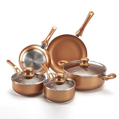 5 Piece Pan Set Aluminium in Copper Style Suitable For Any Hob Dishwasher Safe