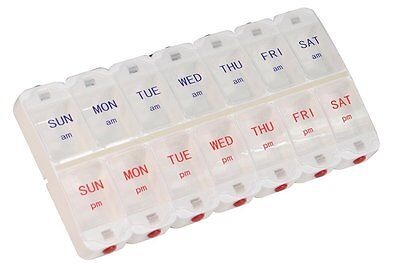 Deluxe Pill Organiser Am Pm Weekly 7 Day Box Holder Tablets Container Dispenser
