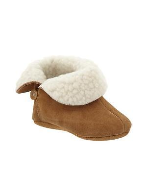 GAP Baby Boy / Girl Size 6-12 Months Tan / Brown Suede Sherpa Boots BootiesShoes