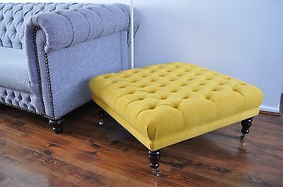 "⚽ Large 34"" X 34"" X 16"" Buttoned Footstool Chesterfield Stool  Yellow Fabric"