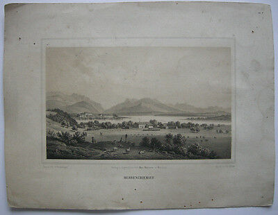 E. Emminger (1808-1885) Herrenchiemsee Chiemsee Orig Lithographie 1860