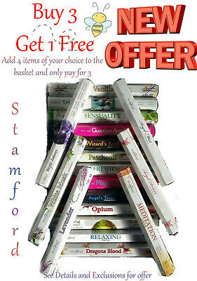 STAMFORD INCENSE STICKS. ADD ANY 4 AND PAY FOR 3.. FREE P&P. 77 scents in stock