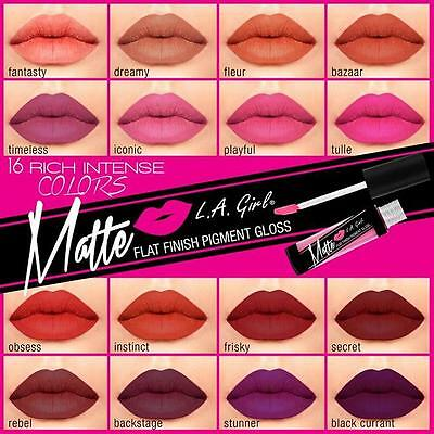 LA Girl - GLG Matte Flat Finish Lip Gloss - All Colors Available!