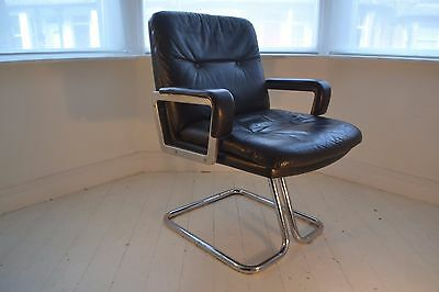 STUNNING VINTAGE LEATHER & BRUSHED STEEL DESK CHAIR - 1960's