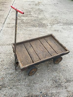Vintage Industrial Wooden Trolley Cart Railway Market Stall