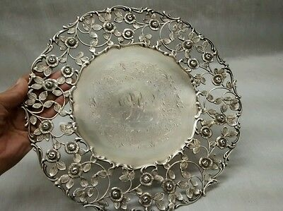 Rare vintage Bailey Banks & Biddle Co. Sterling ornate 925 flower plate tray