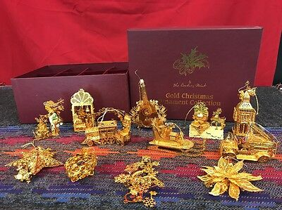 Danbury Mint Gold Christmas Ornament Collection 1998 - Set 12 in Box-